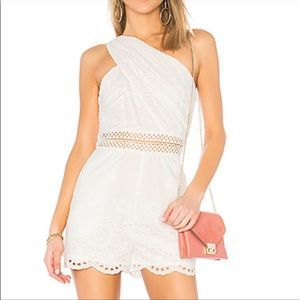 Endless Rose One Shoulder White Eyelet Romper XS